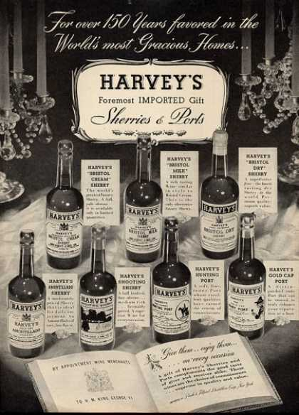 Harveys Sherries Ports Bottles (1951)
