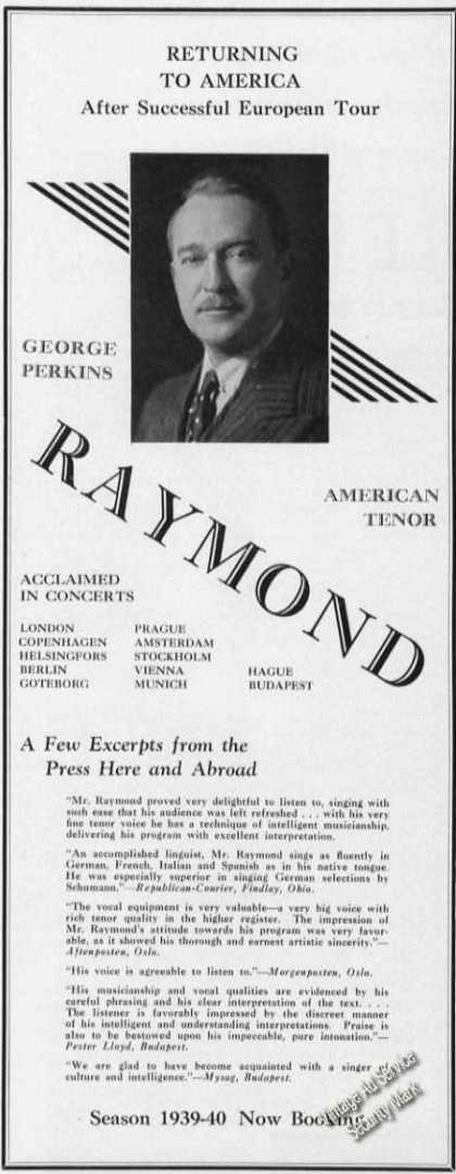 George Perkins Raymond Photo Concerts (1939)