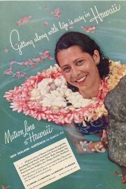Matson Hawaii Cruise Line Woman Swim Ad T (1937)