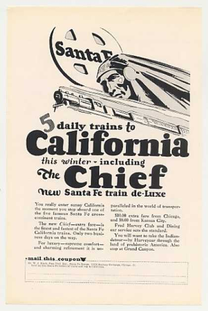 Santa Fe Railroad Chief Train to California (1926)