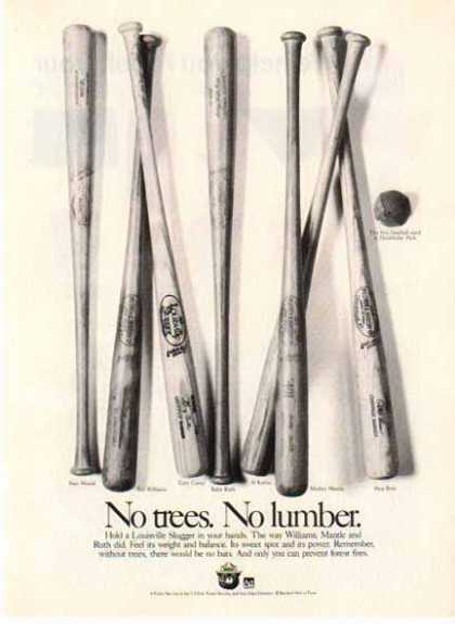 Baseball Bats – Public Service – Rose, Mantle, Ruth – Sold (1989)