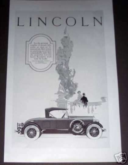 Original Lincoln Car Ad Sport Roadster (1926)