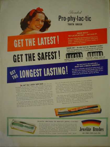 Jewelrite toothbrushes Prophylactic (1941)