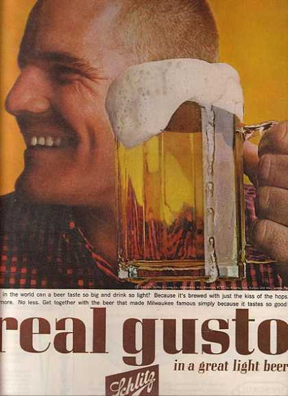 """real gusto in a great light beer"" (1963)"