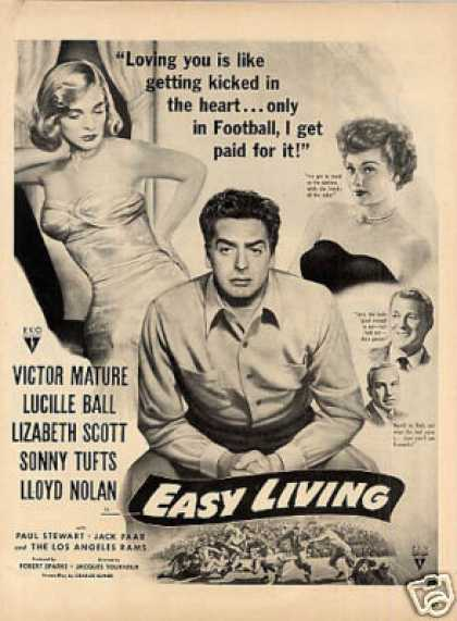 "Movie Ad ""Easy Living"" Victor Mature, Lucille Ball (1949)"
