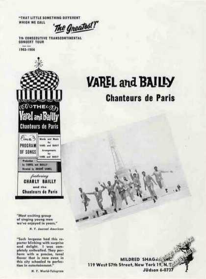 Varel and Bailly Chanteurs De Paris Booking (1963)