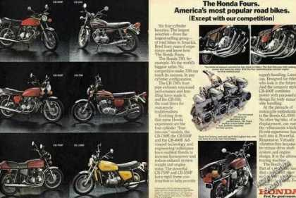 Honda Fours (6 Different) Motorcycle Photos (1976)
