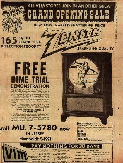 Zenith Television's 165 Square Inch Television – Grand Opening Sale (1950)