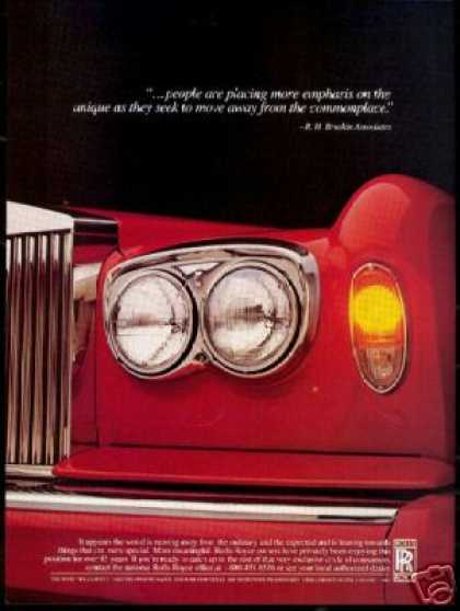 Red Rolls Royce Car Front End Photo (1987)