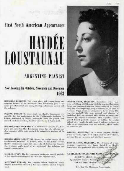 Haydee Loustaunau Argentina Pianist Booking (1963)