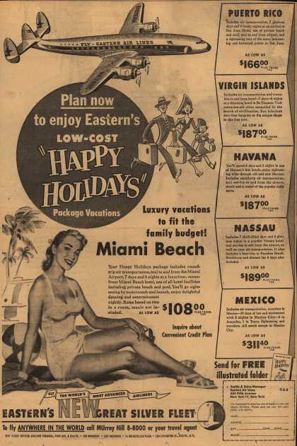 "Eastern Air Lines – Plan Now to Enjoy Eastern's Low-Cost ""Happy Holidays"" Package Vacations (1952)"