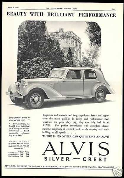 Alvis Silver Crest Car Photo Vintage UK (1938)