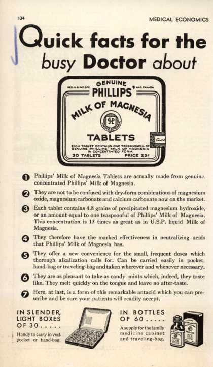 Chas. H. Phillips Chemical Co.&#8217;s Milk of Magnesia &#8211; Quick facts for the busy Doctor about Phillips&#8217; Milk of Magnesia (1932)