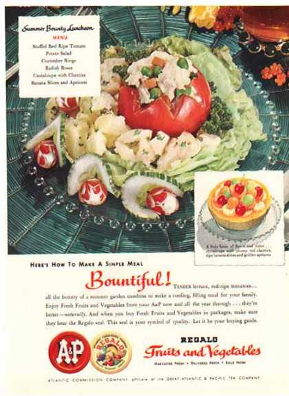 A&P Foods – Fruits & Vegetables with Regalo Seal (1951)