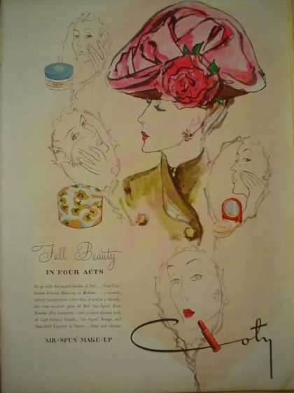 Coty Air Spun Makeup Fall Beauty in four acts (1945)