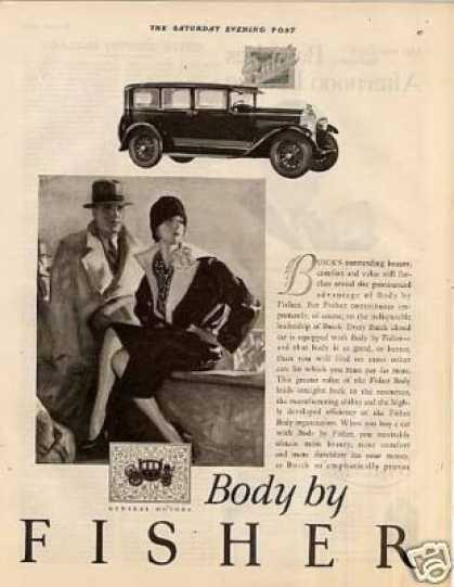 Body By Fisher Buick Car Ad Barclay Art (1927)
