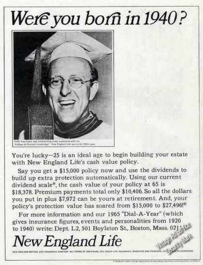 Kay Kyser Photo New England Life Insurance (1965)