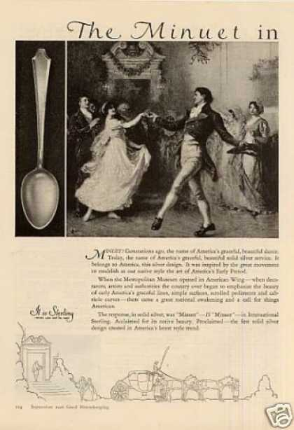 International Sterling 2 Page Ad Minuet (1926)