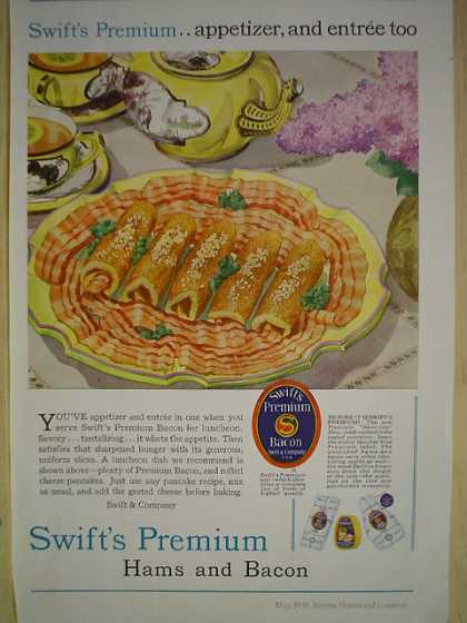 Swift's Premium Hams and Bacon Appetizer and Entree too (1930)