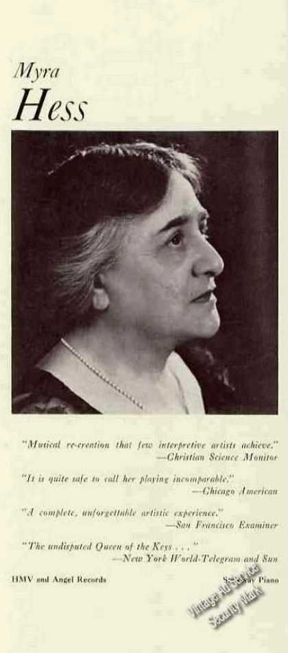 Myra Hess Photo Pianist Trade (1960)