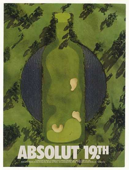 Absolut 19th Hole Vodka Bottle Golf Course (1990)