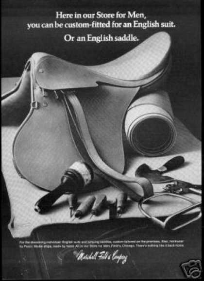 English Horse Riding Saddle Marshall Field Co (1968)