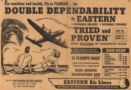 "Eastern Air Line's Florida – For Sunshine and Health, Fly to Florida... For Double Dependability Fly Eastern. Dependable Airliners. Dependable Personnel. ""Tried and Proven"" Ove (1949)"