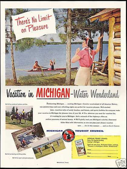 Michigan Water Wonderland Travel Photo (1949)