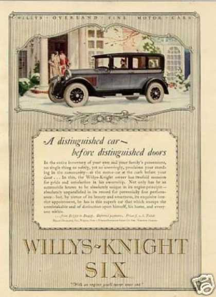 "Willys-knight Six Car Color Ad ""A Distinguished.. (1926)"