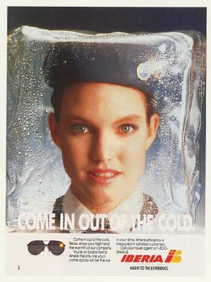 Iberia Airlines Stewardess in Ice Photo (1988)