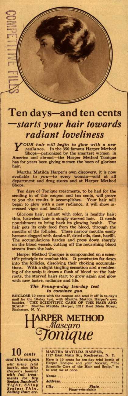 Martha Matilda Harper's Harper Method Mascaro Tonique – Ten days – and ten cents -starts your hair towards radiant loveliness (1924)