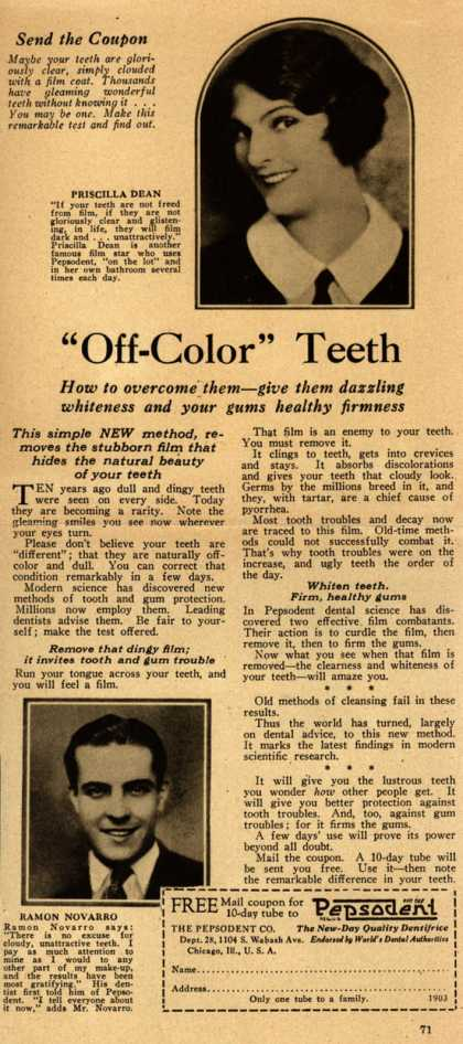 "Pepsodent Company's tooth paste – ""Off-Color"" Teeth (1925)"