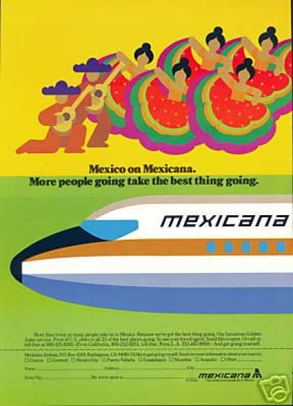 Mexico Dancers Mexicana Airlines Plane (1978)