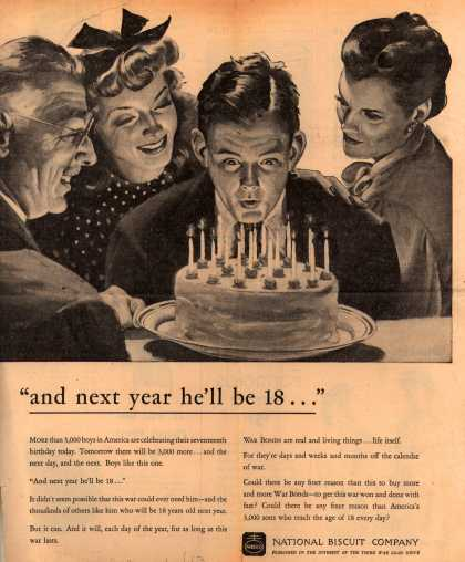 "National Biscuit Company [Nabisco]'s 3rd War Loan Drive – ""and next year he'll be 18..."" (1943)"