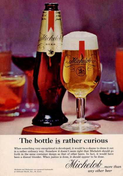 Michelob Beer Glass & Bottle (1964)