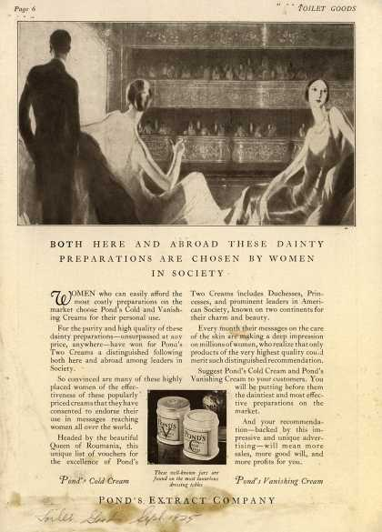 Pond's Extract Co.'s Pond's Cold Cream and Vanishing Cream – Both here and abroad these dainty preparations are chosen by women in society (1925)