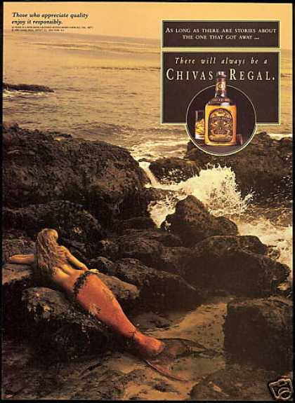 Mermaid Photo Got Away Chivas Regal Scotch (1993)