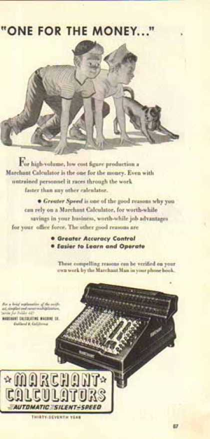 Marchant Calculators – One For the Money (1947)