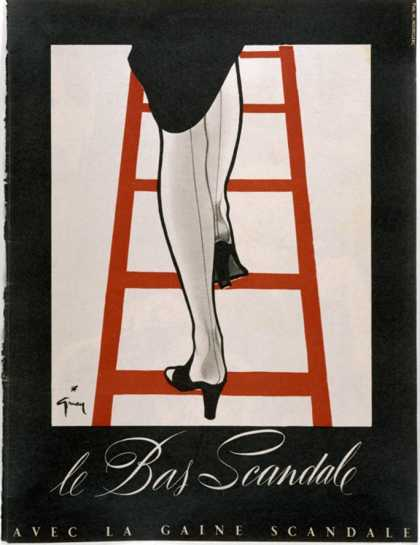 Woman in a Pair of Black Mules and Seamed Stockings Disappears up a Red Ladder