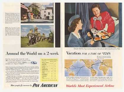 Pan Am Airlines Around World Stewardess Photo (1954)