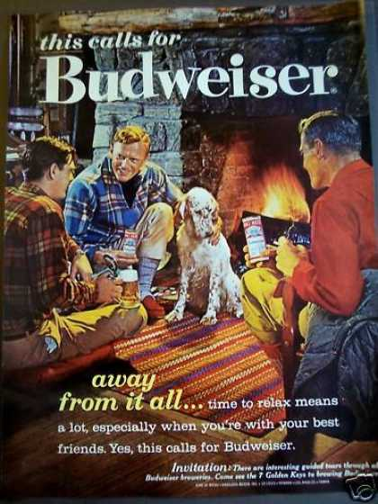 Guys Drinking Budweiser Beer Dog (1962)