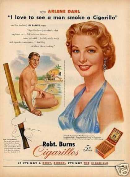 Robt. Burns Cigarillos Cigars Ad Arlene Dahl (1952)