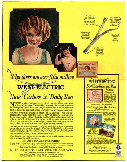 West Electric Hair Curler Company's Hair Curlers – Why there are over fifty million West Electric Hair Curlers in Daily Use (1923)