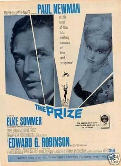 "Movie Ad ""The Prize"" Elke Sommer/paul Newman (1963)"