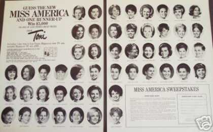 Miss America Pageant 50 Girls Toni 2pg. Photo (1969)