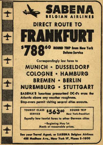 Sabena Belgian Airline's Frankfort – Sabena Belgian Airlines Direct Route to Frankfort (1952)