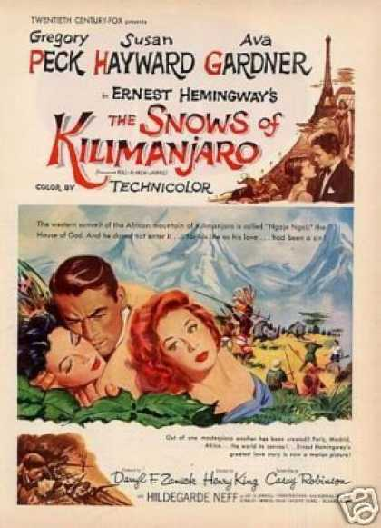 "Movie Ad ""The Snows of Kilimanjaro"" Gregory Peck (1952)"
