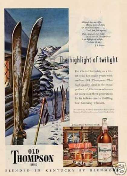 "Old Thompson Whiskey Ad ""The Highlight Of.. (1947)"