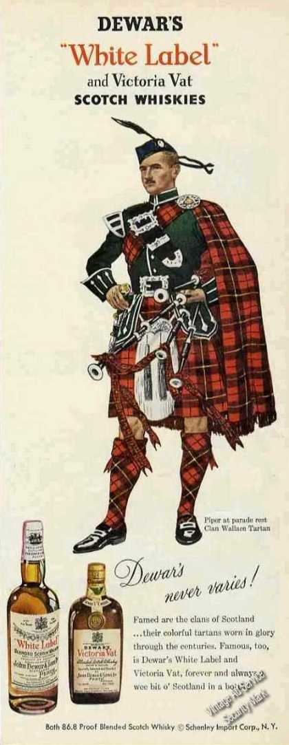 Dewar's White Label Clan Wallace Tartan (1955)