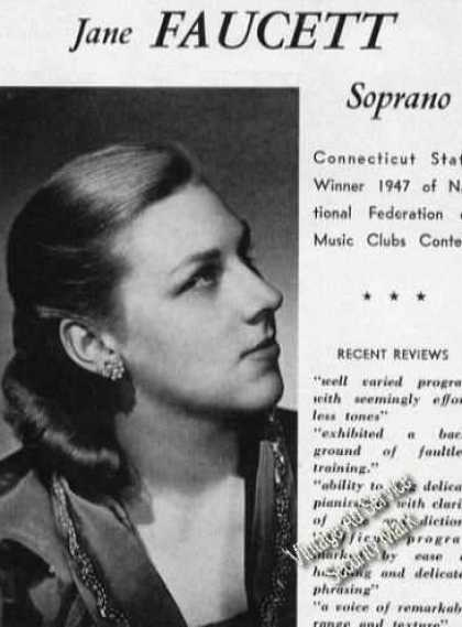 Jane Faucett Photo Soprano Advertising (1950)